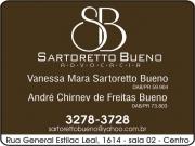 Cartão: VANESSA MARA SARTORETTO BUENO Dra. Advocacia<br>André Chirnev de Freitas Bueno Dr. Advocacia