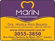 Cartão: JÉSSICA RICO BOCATO Dra. Cirurgiã Dentista/Ortodontia<br>MARIN ODONTOLOGIA ESPECIALIZADA