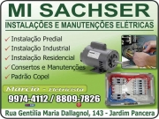 Cartão: MI SACHSER INSTALAÇÕES E MANUTENÇÕES ELÉTRICAS ELETRICISTA MARCIO
