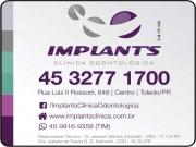 Cartão: JACKSON M KALINOSKI Dr. Cirurgião Dentista / Implantodontia<BR>IZABELA DE TOLEDO G G. KALINOSKI Dra. Cirurgiã Dentista / Ortodontia<br>IMPLANTS CLÍNICA ODONTOLÓGICA
