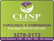 Cartão: CLÍNICA DE PSICOLOGIA E NUTRIÇÃO CLINP CAROLINA ELIS FINGER CAMPANHONI Dra. Psicóloga