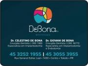 Cartão: CELESTINO DE BONA Dr. Cirurgião Dentista / Implantodontia<br>GIOVANI DE BONA Dr. Cirurgião Dentista / Endodontia<BR>DE BONA ODONTOLOGIA