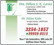 NELSON KUHN Dr. Cirurgião Dentista<br>DÉBORA S K LARSEN Dra. Cirurgiã Dentista