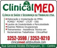 CLINICALMED CLÍNICA DE SAÚDE E SEGURANÇA DO TRABALHO
