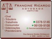 Cartão: FRANCINE RICARDO Dra. Advogada ADVOCACIA