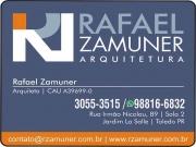 Cartão: RAFAEL ZAMUNER ARQUITETURA ARQUITETO