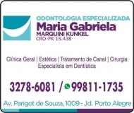 MARIA GABRIELA MARQUINI KUNKEL Dra. Cirurgiã Dentista ODONTOLOGIA ESPECIALIZADA