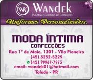 WANDEK UNIFORMES E CONFECÇÕES LOJAS MODA ÍNTIMA / LINGERIE