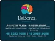 Cartão: CELESTINO DE BONA Dr. Cirurgião Dentista GIOVANI DE BONA Dr. Cirurgião Dentista DE BONA ODONTOLOGIA