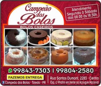 CAMPEÃO DOS BOLOS - BOLOS CASEIROS