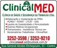 CLINICALMED CLÍNICA DE SAÚDE E SEGURANÇA NO TRABALHO