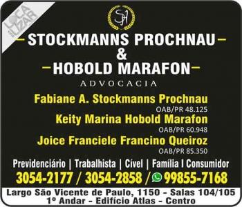 ADVOCACIA FABIANE A. STOCKMANNS PROCHNAU / DIREITO PREVIDENCIÁRIO / STOCKMANNS PROCHNAU E HOBOLD MARAFRON
