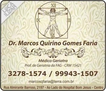 CLÍNICA DE GERIATRIA MARCOS QUIRINO GOMES FARIA Dr. Geriatra