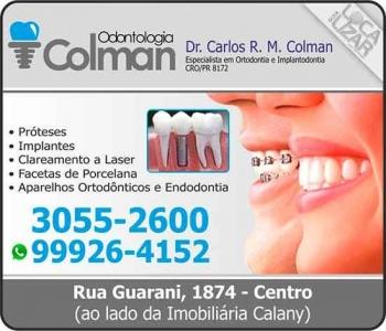 COLMAN CLÍNICA ODONTOLÓGICA CARLOS RAFAEL M COLMAN Dr. CIRURGIÃO DENTISTA