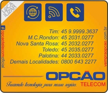 OPÇÃO TELECOM INTERNET E TELECOMUNICAÇÕES