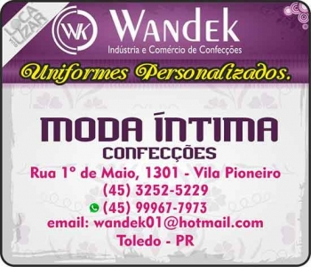 WANDEK UNIFORMES / CONFECÇÕES / LOJAS MODA ÍNTIMA