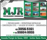 MJR PRÉ-MOLDADOS / ENGENHARIA / LOCAÇÃO DE CAMINHÃO MUNCK
