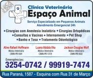 ESPAÇO ANIMAL CLÍNICA VETERINÁRIA E PET SHOP / ORTOPEDIA / ODONTOLOGIA CANINA