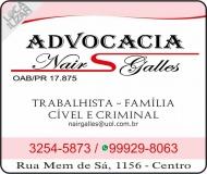 ADVOCACIA NAIR SCRIPCHENCO GALLES / DIREITO TRABALHISTA E FAMÍLIA