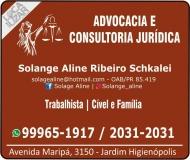 ADVOCACIA SOLANGE ALINE RIBEIRO SCHKALEI / DIREITO TRABALHISTA E FAMÍLIA