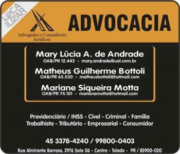 ADVOCACIA CÍVEL / PREVIDENCIÁRIA / TRIBUTÁRIA / PENAL EM TOLEDO PR