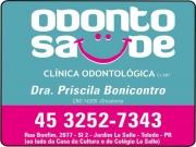 Cartão: ODONTO SAÚDE CLÍNICA ODONTOLÓGICA PRISCILA BONICONTRO DRA. CIRURGIÃO DENTISTA cro 14205