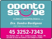 Cartão: ODONTO SAÚDE CLÍNICA ODONTOLÓGICA SANDRA BORDIGNON DRA. CIRURGIÃO DENTISTA cro 7496