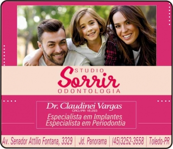 CIRURGIÃO DENTISTA CLAUDINEI VARGAS / IMPLANTODONTISTA / STUDIO SORRIR