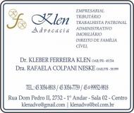 ADVOCACIA KLEBER FERREIRA KLEN / DIREITO TRIBUTÁRIO E EMPRESARIAL / KLEN ADVOCACIA