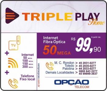 OPÇÃO TELECOM INTERNET FIBRA ÓPTICA / TELEFONIA FIXA E IPTV