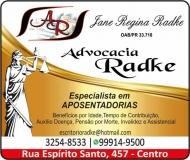 ADVOCACIA JANE REGINA RADKE / DIREITO PREVIDENCIÁRIO / RADKE