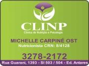 Anuncio - CLÍNICA DE NUTRIÇÃO E PSICOLOGIA CLINP<br>MICHELLE CARPINÉ OST Nutricionista